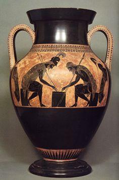 Exekias(konstnären), Akilles och Ajax spelar tärning, 540 f.v.t. En Amphora - stort dryckeskärl, två handtag, avsmalnad hals och ofta fot.