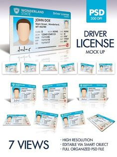 Driver License Graphics 7 views with shadows and vertical reflection.Size: px by doghead Ca Drivers License, Drivers License California, Driver's License, Best Templates, Templates Printable Free, Mockup Templates, Design Templates, Id Card Template, Card Templates