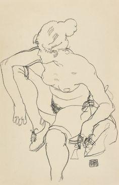 Frau sitzend mit Schuhen (1917) by Egon Schiele
