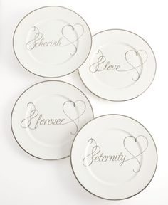 Mikasa Dinnerware, Set of 4 Love Story Accent Plates - Fine China - Dining & Entertaining - Macy's