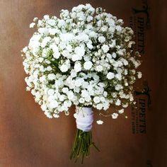 Tight ball of Gypsophila/baby's breath wedding bouquet www.tippettsflorist.com