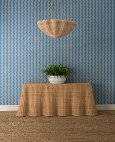 Soane Britain Scrolling Fern Silhouette Wallpaper, The Rattan Monumental Ripple Console and The Rattan Daisy Hanging Light. Fern Wallpaper, Fabric Wallpaper, Wallpaper Ideas, Jasper Blue, Rattan Furniture, Rattan Stool, Ceiling Rose, Wedgwood, Hanging Lights