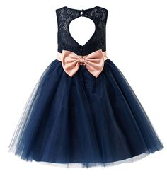 Thstylee Grey Navy Lace Tulle Bow Flower Girls Dresses Juniors Kids Dresses Size US 3T Navy