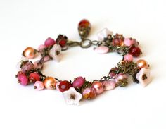 Pink Agate and Czech Glass Bracelet, Light Pink Czech Glass Flowers, Peach Glass Pearls, Red and Pink Agate, FREE SHIPPING