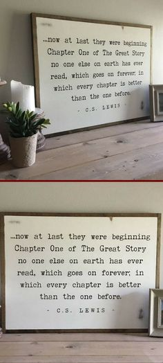 Absolutely love this distressed wall decor of The Great Story quote from C.S. Lewis. #farmhouse #farmhousestyle #ad #cottagestyle #rustic #shabbychic