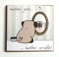Pug Birthday Greeting Card by Pugsnkissesuk on Etsy