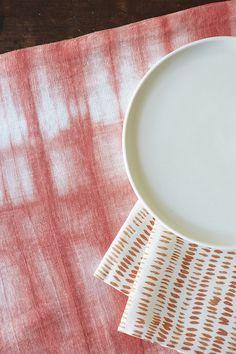 Rebecca Atwood Coral Shibori Runner and Dashes Tangerine Napkin