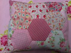 Patchwork  hexagon pillow cushion decorative by Patchworkandlace, $9.00
