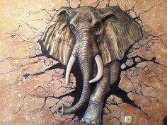 Mural Painting, Mural Art, Oil Painting On Canvas, Wood Sculpture, Wall Sculptures, Plaster Art, 3d Street Art, Elephant Art, Beauty Art