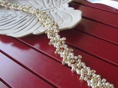 Wedding Gold Belt/ Ivory Pearl and Gold Crystal Rhinestone