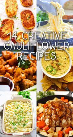 14 Creative Vegan Cauliflower Recipes Yummy healthy cauliflower recipes that are also VEGAN! Easy Vegetarian Dinner, Vegan Dinner Recipes, Healthy Eating Recipes, Vegan Dinners, Whole Food Recipes, Eating Vegan, Vegetarian Food, Vegan Food, Vegan Cauliflower