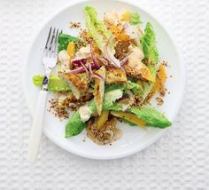 Curried chicken & mango salad. This lightly-spiced, fruity salad is a modern take on Coronation chicken - a low-calorie lunch for two.