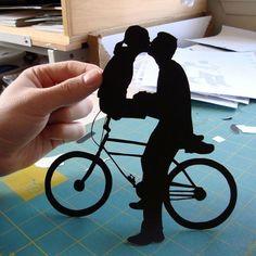 Couple Kissing on Bike Papercut  First Ever Pin by papercutsbyjoe, $48.00