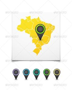 Map with a Marker on Brazil ... 3d, Brasilia, Janeiro, administrative, amazon, america, background, blue, brazil, brazilian, cartography, country, de, federative, geography, icon, illustration, latin, map, marker, match, ocean, republic, rio, river, south, state, travel, vector, white