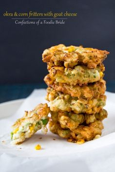 Okra and Corn Fritters with Goat Cheese by foodiebride, via Flickr