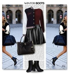 """""""Winter Boots"""" by breathing-style ❤ liked on Polyvore featuring Oris, M&Co, Boohoo, Miss Selfridge and Karen Millen"""