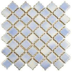 Merola Tile Hudson Tangier Frost Blue in. x 5 mm Porcelain Mosaic - The Home Depot floors Merola Tile Hudson Tangier Frost Blue in. x 5 mm Porcelain Mosaic - The Home Depot Lantern Designs, Mosaic Wall Tiles, Mosaic Floors, Mosaics, Blue Mosaic, Shower Floor, Mosaic Patterns, Stone Tiles, Arabesque