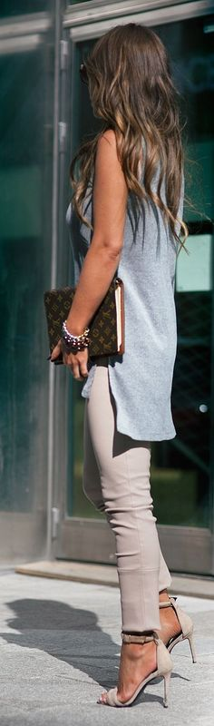 Grey And Nude Outfit Idea by Johanna Olsson women fashion clothing style apparel @roressclothes closet ideas