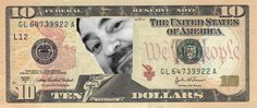 The Outsidah, Doug Brendel, superimposed on a $10 banknote