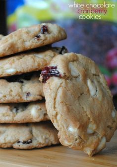 White Chocolate& Cranberry cookies:   Mix:  3/4 c melted butter, 1 c brown sugar & 1/2 c sugar until creamy. Beat in 2 eggs, one at a time,1 tsp vanilla. Slowly beat in 2 1/4 c flour, 1/2 tsp baking soda & 1 tsp kosher salt. Fold in 1 c white chocolate & 1 c Craisins.  parchment lined cookie sheet. Bake @ 375 n for 10-12 min... cool ...df