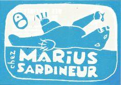 """""""les fameuses recettes de Marius, sardineur"""" Marius, Graphic Design Print, Ex Libris, Bold Colors, Merchant Navy, Preserves, Pisces, Recipes, Vivid Colors"""