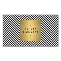 Black/White Chevron Pattern with Gold Name Logo Business Card Template