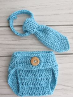 Crochet Diaper Cover and baby tie