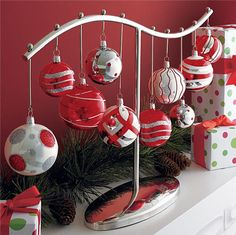 Ornament Centerpiece... great to hang your favorites and no have to worry about them getting broken