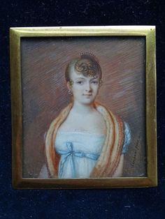 antike Miniaturmalerei - junge EMPIRE Dame sign. Marchand pinx 1807