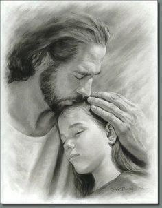 It's so wonderful to know I have my Father's love. He gives me true peace -- something the world cannot truly offer for long.  Jesus drawing. Pencil.