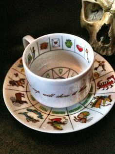 Vintage Fortune Telling Tea Cup...I'm not sure about that, looks more like a modern cup for tea leaf reading