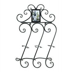 New Scrollwork Wall Mounted Bottle And Wine Glass Holder Rack Iron Bar Decor