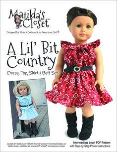 NEW A Lil' Bit Country dress, top, skirt & belt pattern from Matilda's Closet on PixieFaire ...SO CUTE! Must buy!!