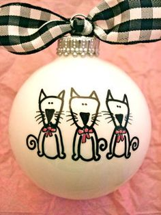 Dog or Cat Hand Painted Personalized Ornament by HappyYouHappyMe