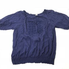 d836b94d0e1c0 Women s Plus Size 22 24W 3X Dark Navy Blue Tie Front Peasant Boho Blouse Top