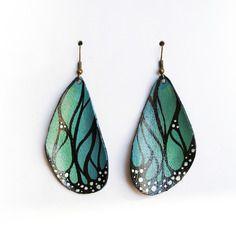 Boucles d'oreilles créateur ailes de papillon bleu/vert