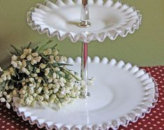 Fenton Milk Glass Two Tier Pastry Tray. Tray with Silver Crest Decorative Rim and Handle in the Center.
