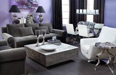 Aubergine pairs well with charcoal grey sofas, silver accents, and pops against bright whites.
