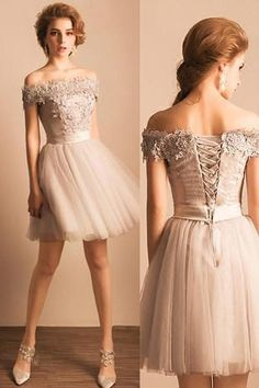 Grey Off Shoulder Elegant Style Homecoming Dresses, Short Prom Dress with Lace-up Back