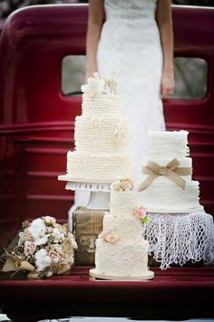 Rustic wedding cakes, a vintage pick-up, and a cotton bouquet my total favorite!!!!