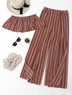 Striped Tube Crop Top And High Slit Pants - Brick-red - Brick-red S Girl Outfits, Casual Outfits, Cute Outfits, Fashion Outfits, Trendy Fashion, Cute Summer Outfits For Teens, Wide Pants, Mode Hijab, Two Piece Outfit