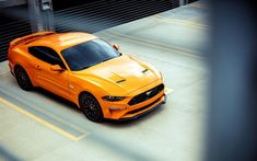 Best Sports Cars : Illustration Description Ford Mustang GT, 2018, Fastback Sports, yellow sports coupe, American cars, supercar, Ford
