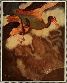 Edmund Dulac, The Rokh: Stories from the Arabian Nights (Sindbad the Sailor), 1907.