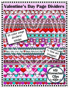 Valentine's Day Page Dividers 2 https://www.teacherspayteachers.com/Product/Valentines-Day-Page-Dividers-2-1695578