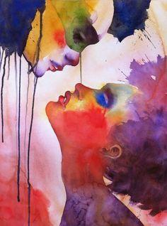 artists, color art, watercolor paintings, painting art, saatchi, colors, prints, alessandro andreuccetti, kisses