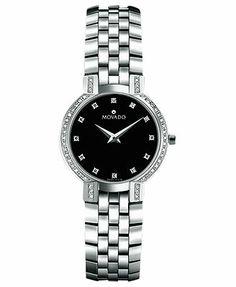 Movado Watch, Women's Swiss Faceto Stainless Steel Bracelet 25mm 0605586