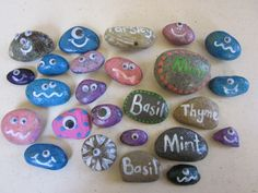 Pet rocks and herb garden markers made by grade 6 for the school fete.