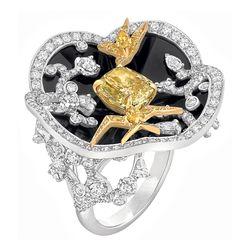 Chanel 18k gold, diamond and lacquer 'Camélia Coromandel' ring.  Photo c/o Lash Magazine