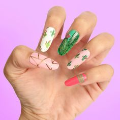 Cactus Press On Nails | Fake Nails | False Nails | Glue On Nails | Gel Nails | Any Shape & Size | Fun Nails | Summer Nails | Tropical by DippyCowNails on Etsy