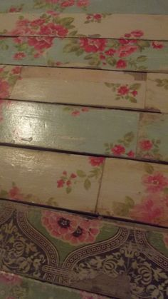 Decoupage Floors to create a shabby chic flavor to your space could do a head board too cute! Found by Cherrie Hub